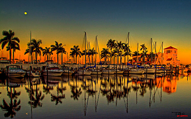 Sailboats and pier in early morning light at Twin Dolphin Marina, Bradenton, Florida by Chris Thibaut.