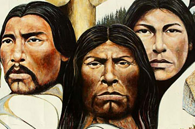 Image of First Nation Faces that are all on the same plane of focus by Jim Altengarten.