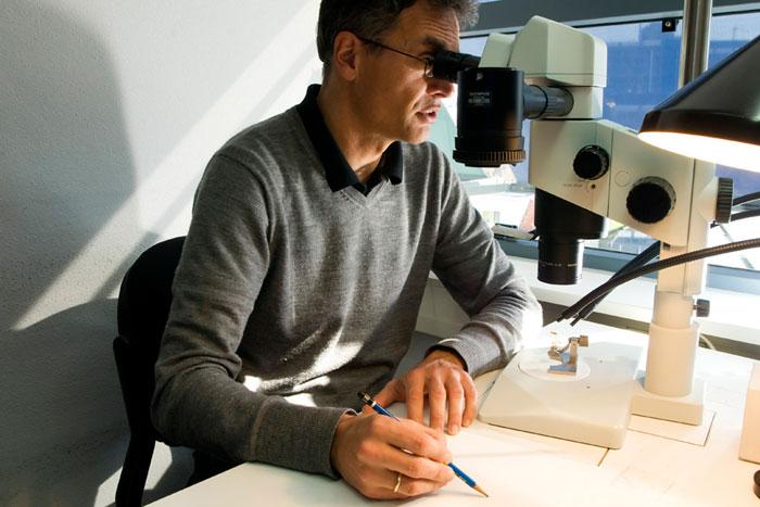 Photo of Erik-Jan Bosch, scientific illustrator, of NATURALIS Leiden Netherlands by Edwin Brosens