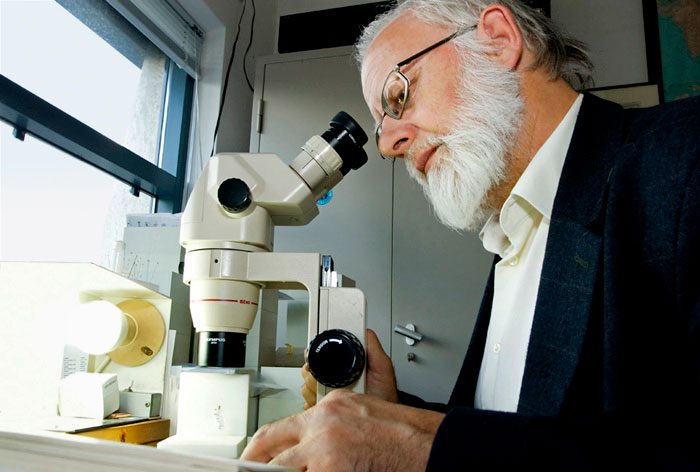 Photo of Professor Kees van Achterberg at Prehistoric Times Museum in Boxtel, Netherlands by Edwin Brosens