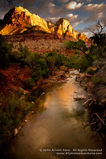 Rock formation and stream in Zion National Park in Utah by Arnold Zann.