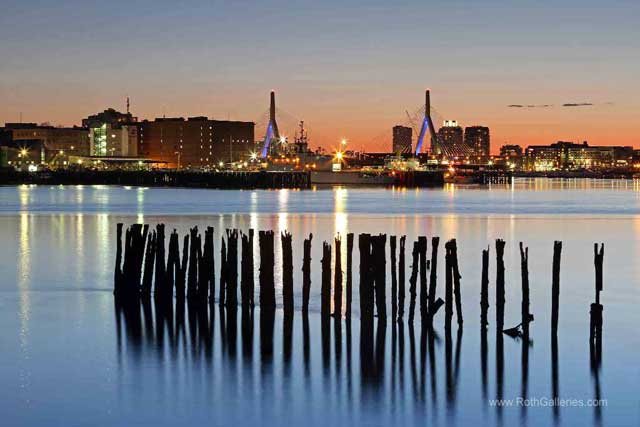 cityscape photography - Mooring Poles and the Leonard Zakim Bunker Hill Memorial Bridge, Boston, Massachusetts