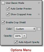 Photoshop CS6 - Innovative New Crop Tool: screen shot of Crop Tool Options Menu by John Watts.