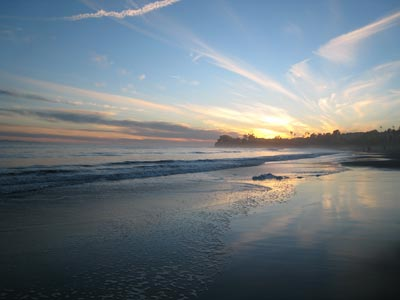 Image of California sunset reflecting on water by Marilyn S. Goerler.