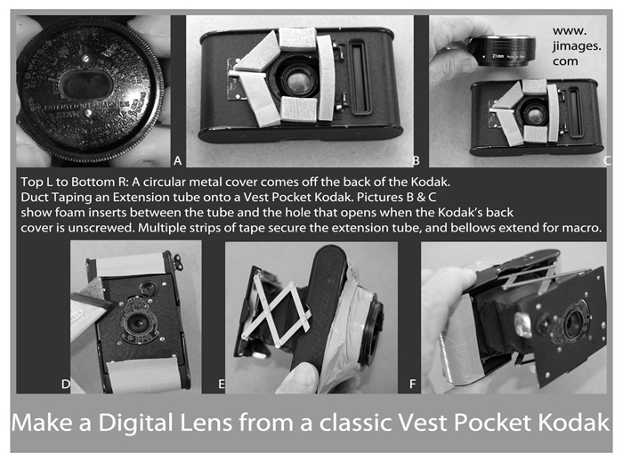 Photos of how to combine Vest Pocket Kodak camera and Canon 7D digital SLR camera by Jim Austin