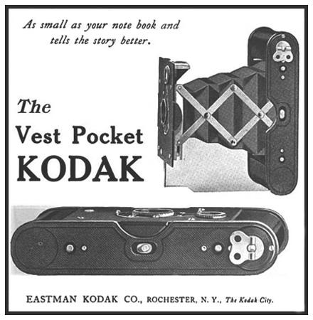 Photo of old Vest Pocket Kodak camera ad