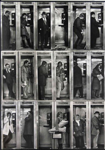 Photo collage of people talking in old telephone booths in New York by Ned Harris