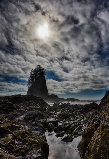 Photo of rocky Second Beach and cloudy sky on the Olympic Peninsula, Washington by Michael Leggero