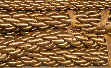 Photo of finished gold rope trim at West Coast Trimming by Noella Ballenger