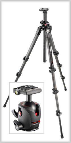 Manfrotto 055 series carbon fiber tripod and ball head.