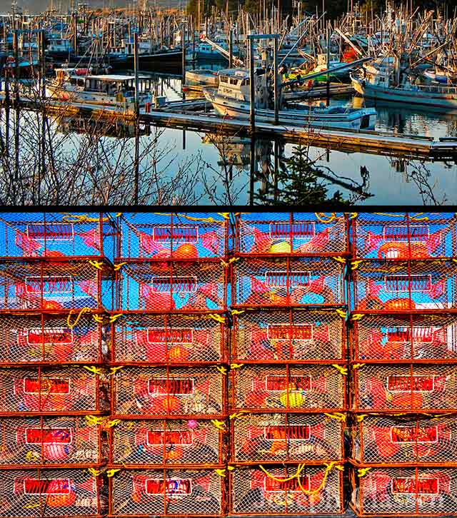Photos of the fishing fleet at St. Herman Harbor, Kodiak Island, Alaska, and a wall of new red crab pots wait to be sent to sea by Joseph Classen.