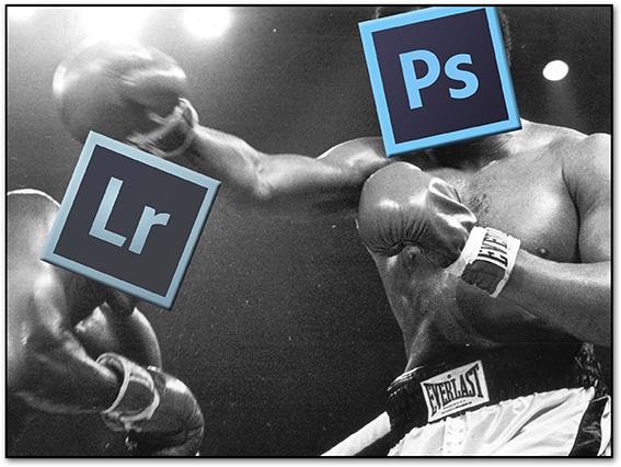 photoshop versus lightroom. Image of boxers from creative commons.