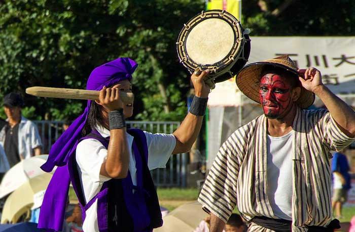 Photo of drummer and Gajangani at Eisa Festival in Okinawa, Japan by Michael Lynch