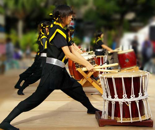Photo of Kin group performing Wadaiko in Okinawa, Japan by Michael Lynch