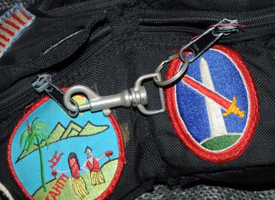Photo of secured zipper packs by Ron Veto