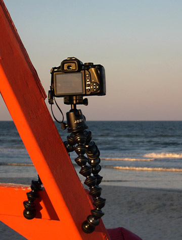 Image of Joby GorillaPod Focus and Ballhead X attached to lifeguard chair at Jacksonville Beach by Marla Meier.