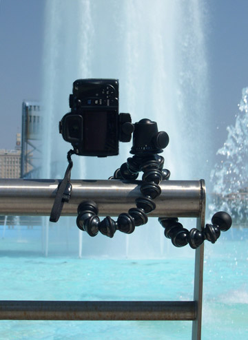 Image of Joby GorillaPod Focus and Ballhead X attached to railing around Friendship Fountain in Jacksonville, Florida by Marla Meier.