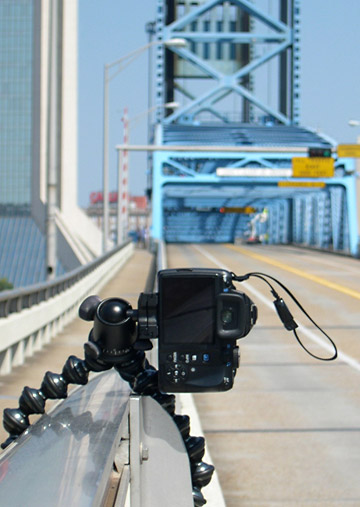 Image of Joby GorillaPod Focus and Ballhead X attached to guardrail going to the Main Street Bridge in Jacksonville, Florida by Marla Meier.