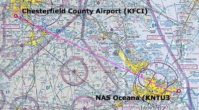 Aerial photography: sectional map showing flight plan from Chesterfield County Airport to NAS Oceana by Allen Moore.