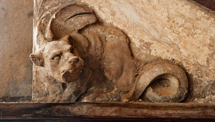 Photo of clay creature at the Gladding, McBean Terra Cotta Factory by Robert Hitchman
