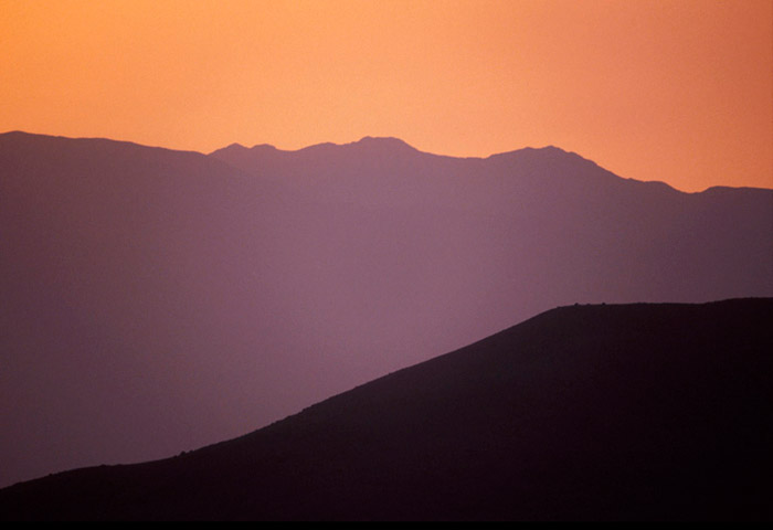 Photo of mountains at dusk in the Sierra Nevada Mountains by Noella Ballenger