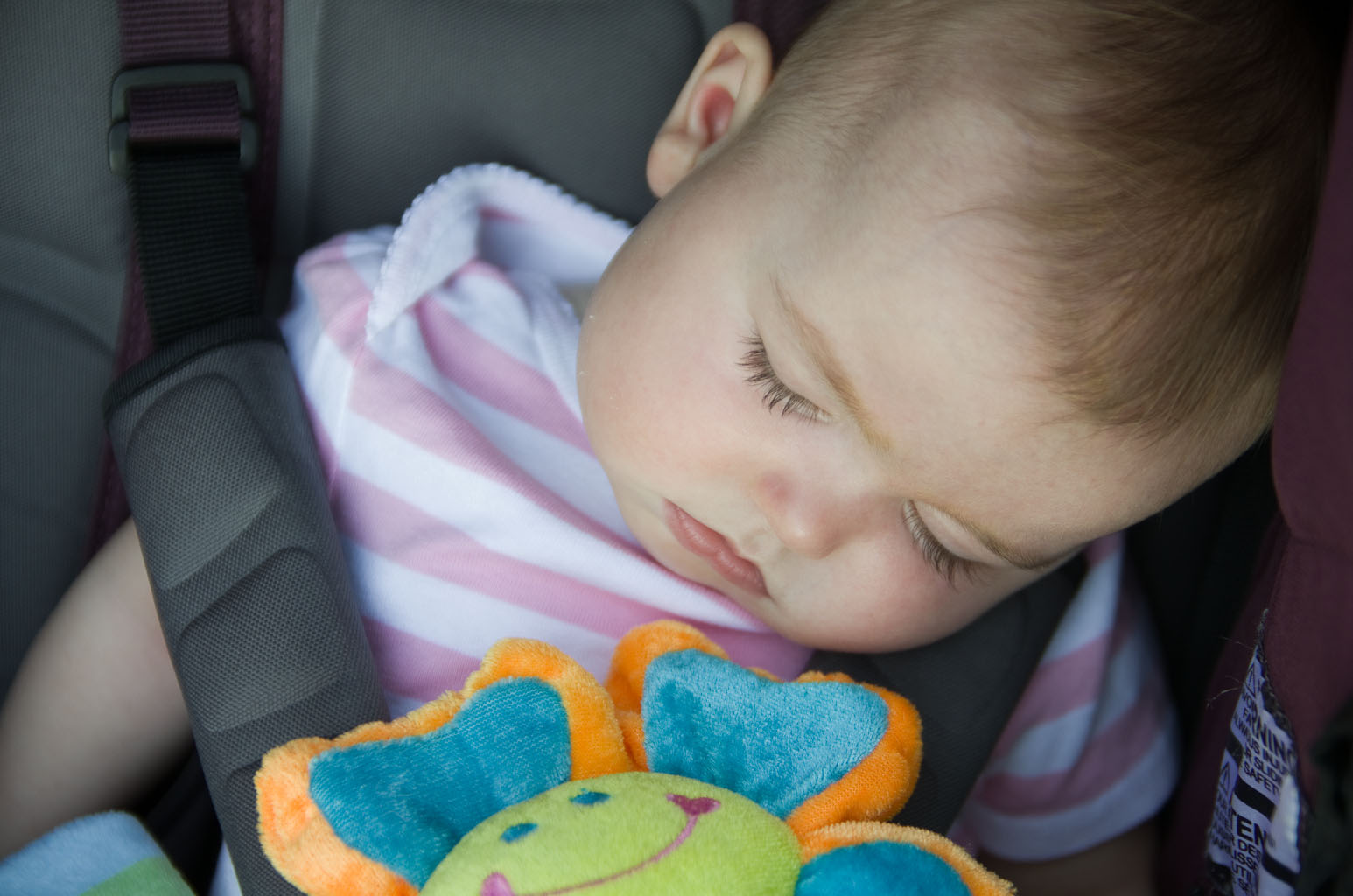 Baby A is napping in her car seat by Elizabeth Powis Fulks.