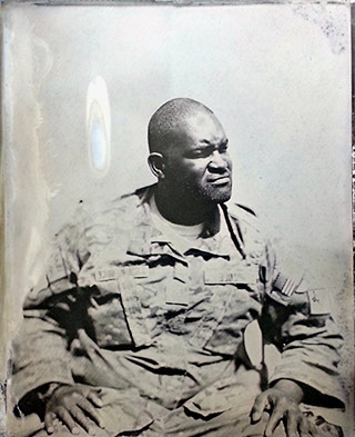 Tintype portrait of a soldier during the war in Afghanistan by Ed Drew.