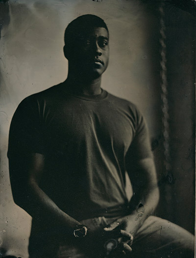 Tintype portrait of Ed Drew.