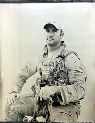 Tintype portrait of a Sergeant Aerial Gunnerl during the war in Afghanistan by Ed Drew.