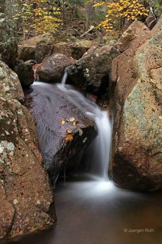 Photo guide to Acadia National Park: Waterfall with silky water effect by Juergen Roth.