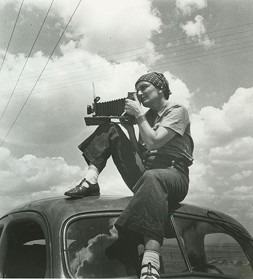 "Dorothea Lange, 1937, as seen in ""American Masters – Dorothea Lange: Grab a Hunk of Lightning."" Photo Credit: Paul S. Taylor, 1936"