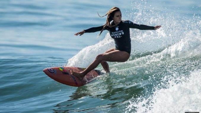 beautiful girl surfing