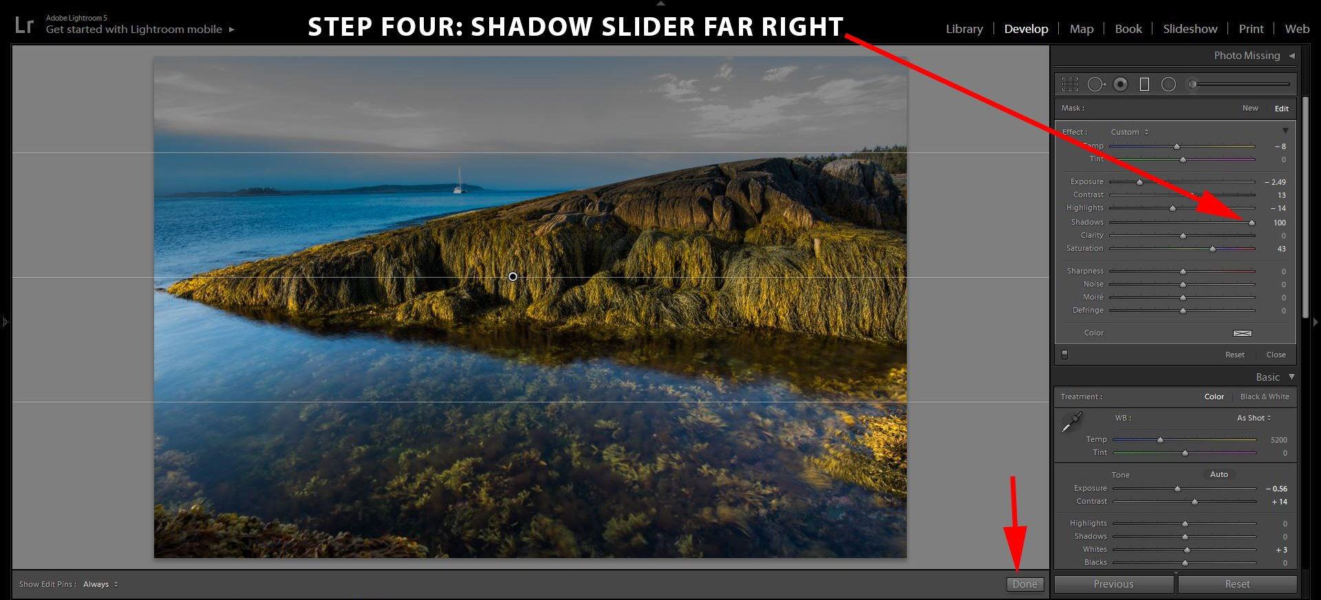 4 Shadow Slider Right Better Skies in LIghtroom