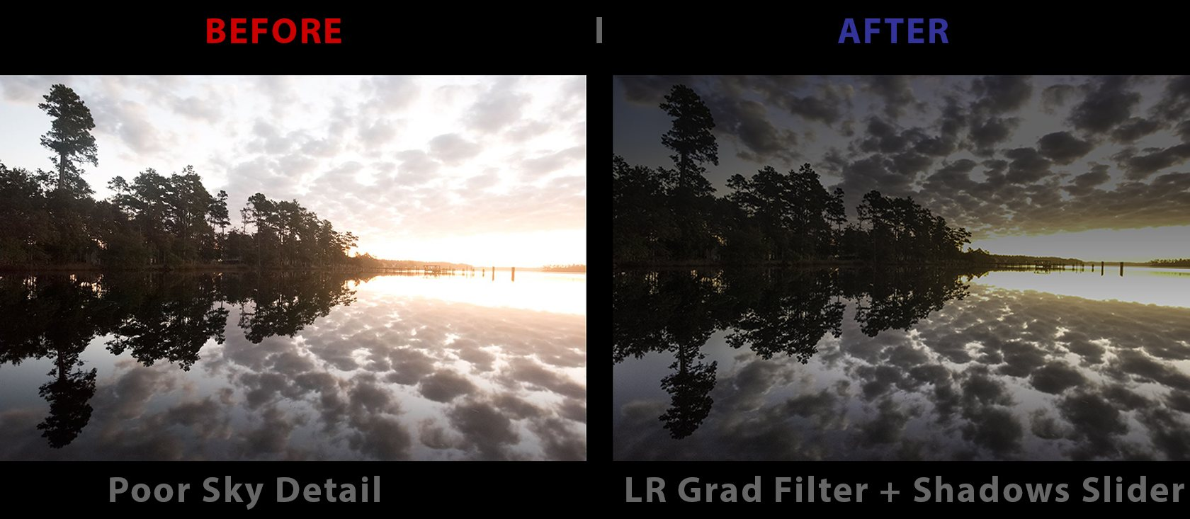 BEFORE AFTER TREES CLOUDS SKY example 2.