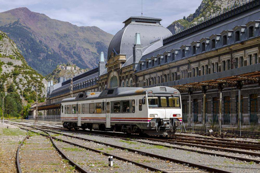 Canfranc, Spain - August 30, 2017: Abandoned railway station of Canfranc Huesca Spain