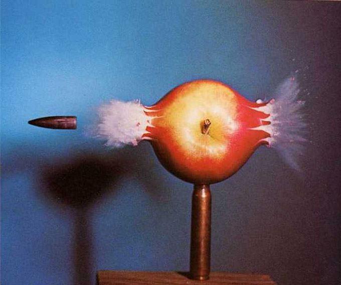 Edgarton bullet through apple
